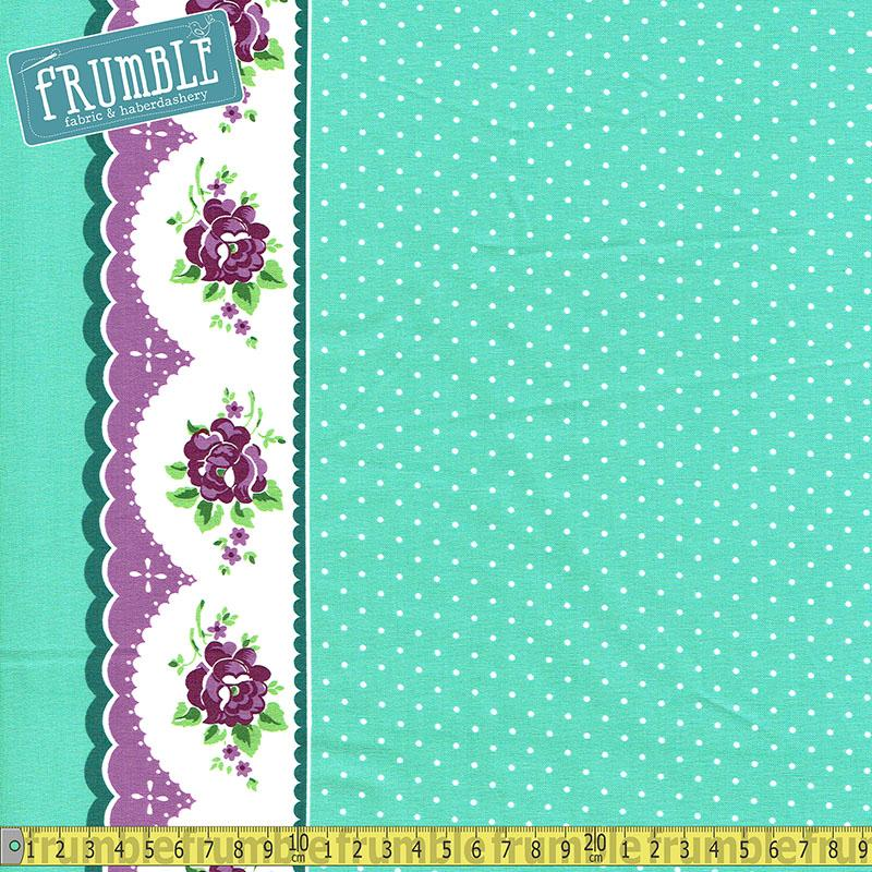 Prim And Proper Polka Floral Border Mint Fabric by Riley Blake