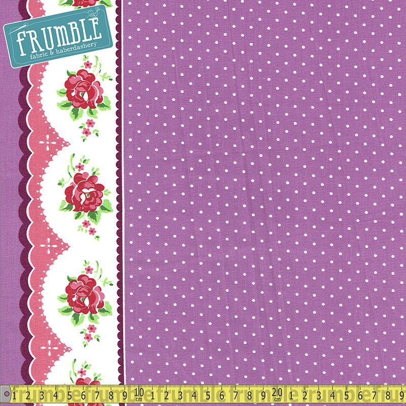 Prim And Proper Polka Floral Border Purple Fabric by Riley Blake