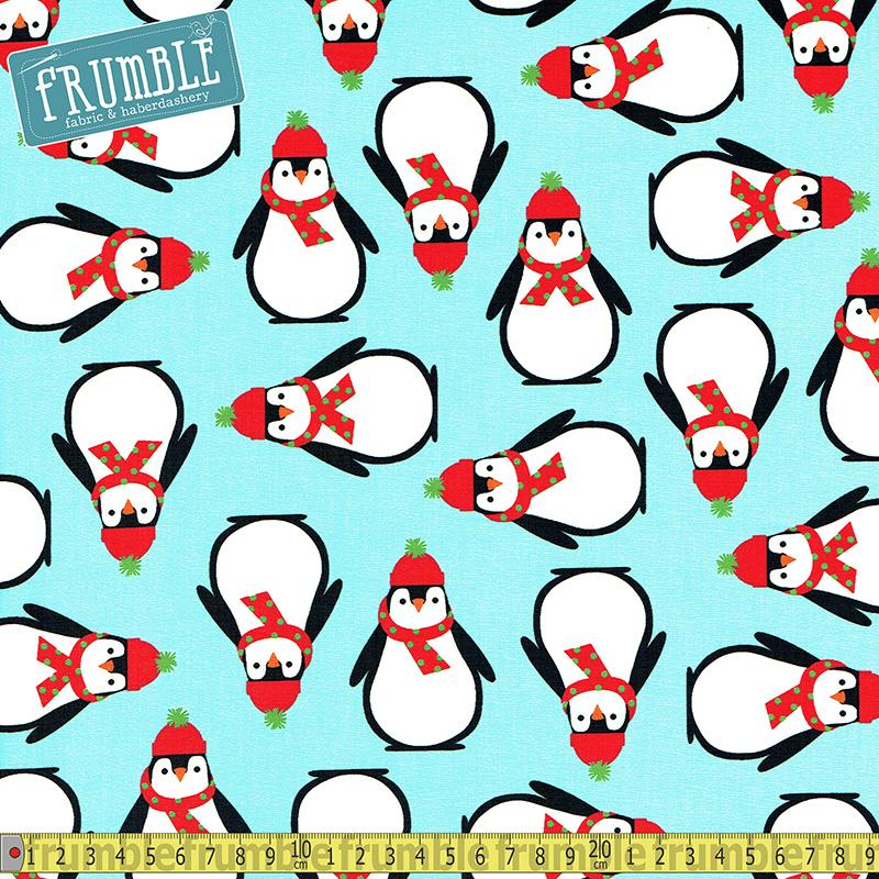 Jingle 4 Penguins Aqua Fabric by Robert Kaufman