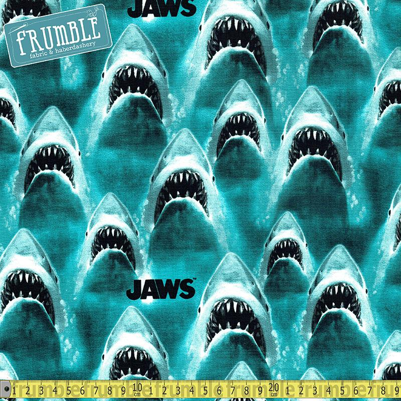 Classic Jaws Bright Blue Fabric by Springs Creative