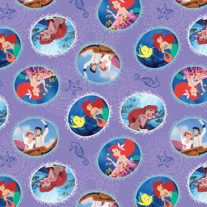 Disney Little Mermaid Fairy Tale Ending Lavender Fabric by Springs Creative