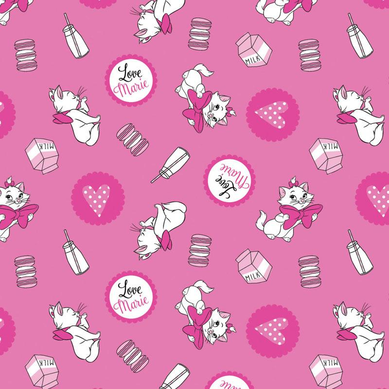 Disney Aristocats Marie Loves Milk Pink - Frumble Fabrics