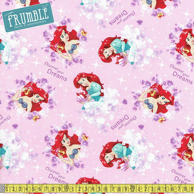 Disney Little Mermaid Discover Your Dreams Pink Fabric by Springs Creative