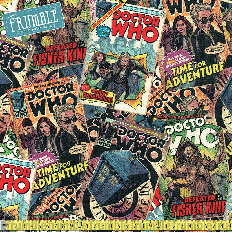 Doctor Who Comic Book Toss Multi - Frumble Fabrics