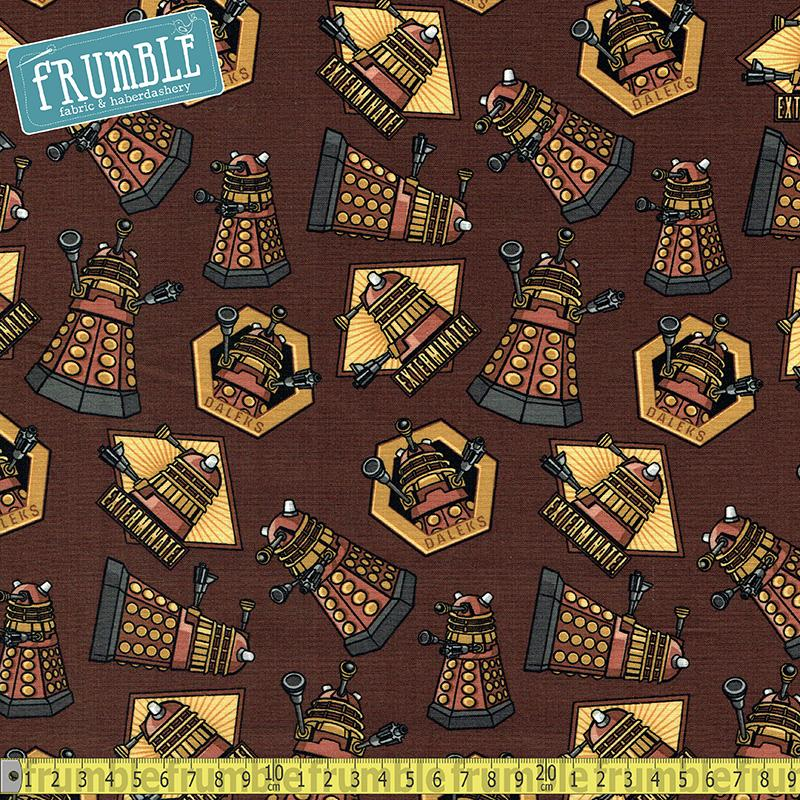 Doctor Who Exterminate Brown Fabric by Springs Creative