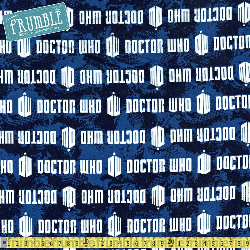 Doctor Who Logo Stripe Blue Fabric by Springs Creative