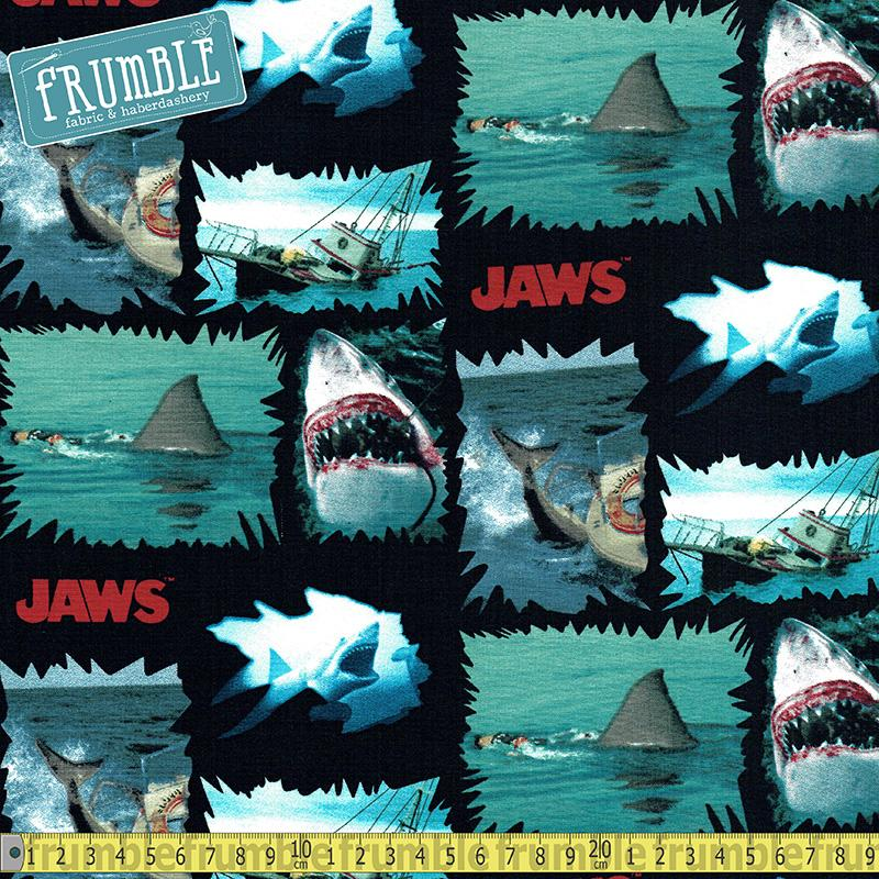 Jaws Shark Torn Patches Multi Fabric by Springs Creative