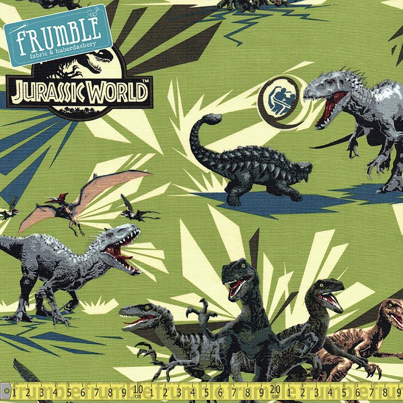 Jurassic Park Jungle Rules Green Fabric by Springs Creative