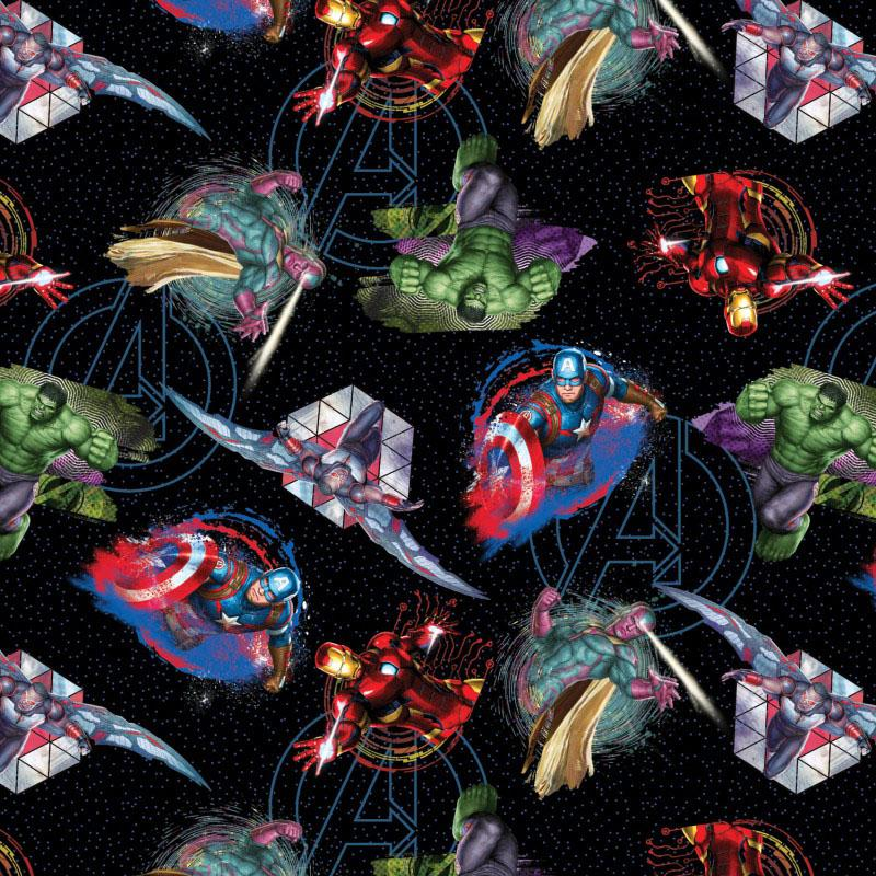 Marvel Avengers Badges Black Fabric by Springs Creative