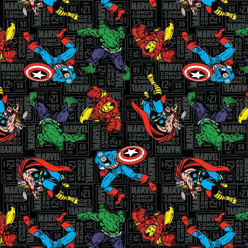 Marvel Character Toss Black Fabric by Springs Creative