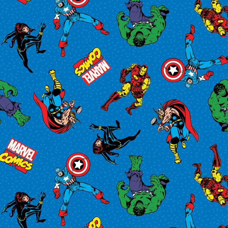 Marvel Comic Action Blue Fabric by Springs Creative