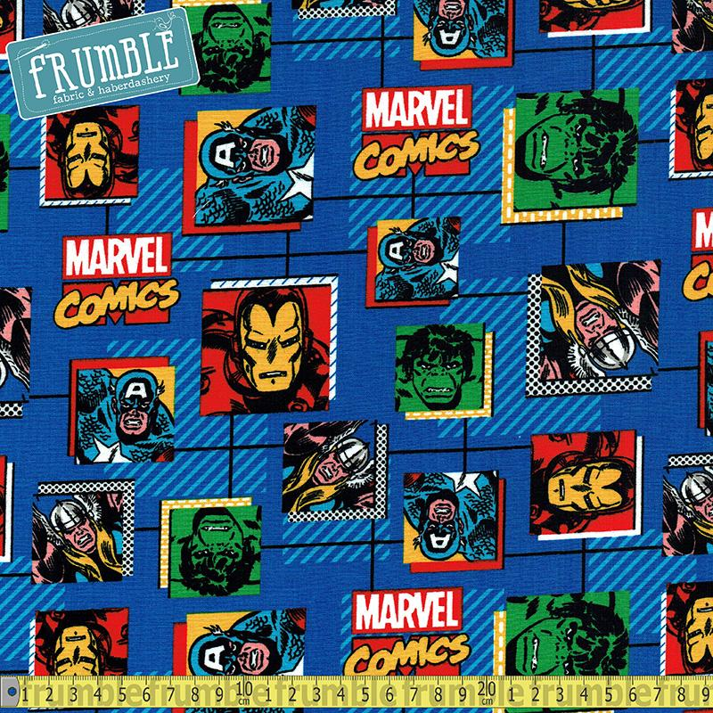 Marvel Comic Block Blue Fabric by Springs Creative