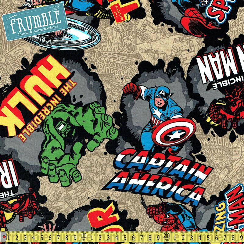 Marvel Comic Burst Tan Fabric by Springs Creative