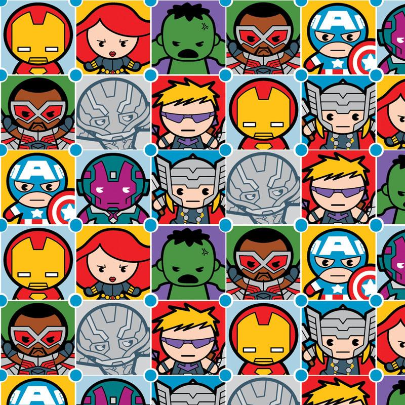 Marvel Kawaii Character Tiles Multi Fabric by Springs Creative