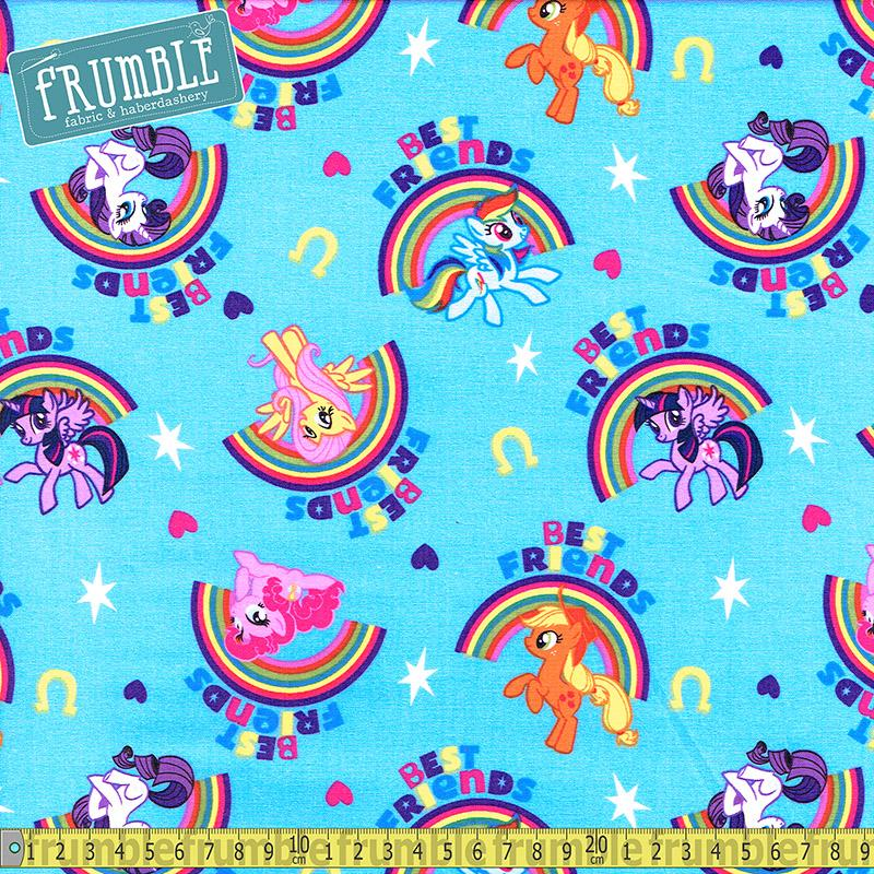 My Little Pony Pal Rainbows Blue Fabric by Springs Creative