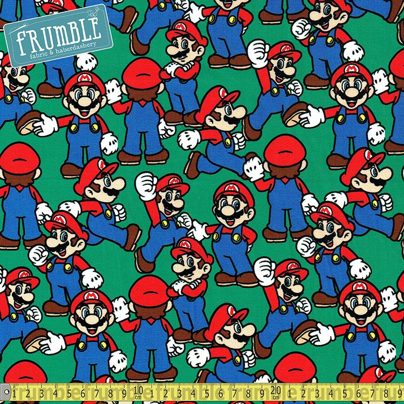 Nintendo Packed Mario Green Fabric by Springs Creative