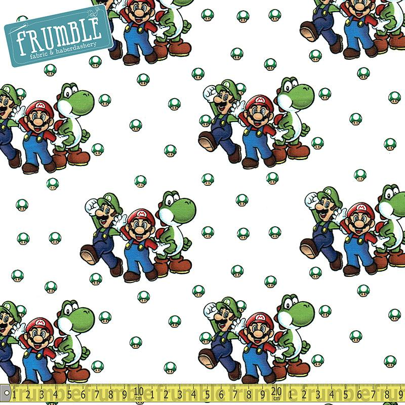 Nintendo Super Mario Beware Of Bowser White Fabric by Springs Creative