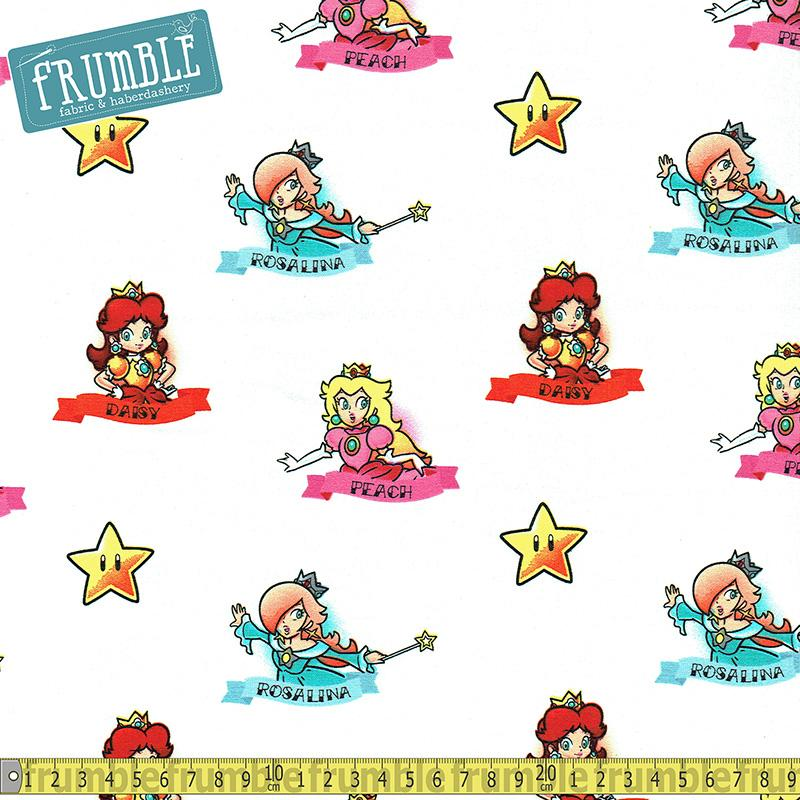 Nintendo Super Mario Princess White Mint Fabric by Springs Creative