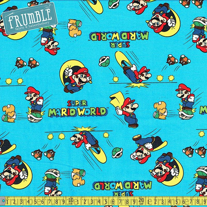 Nintendo Super Mario World Blue Fabric by Springs Creative