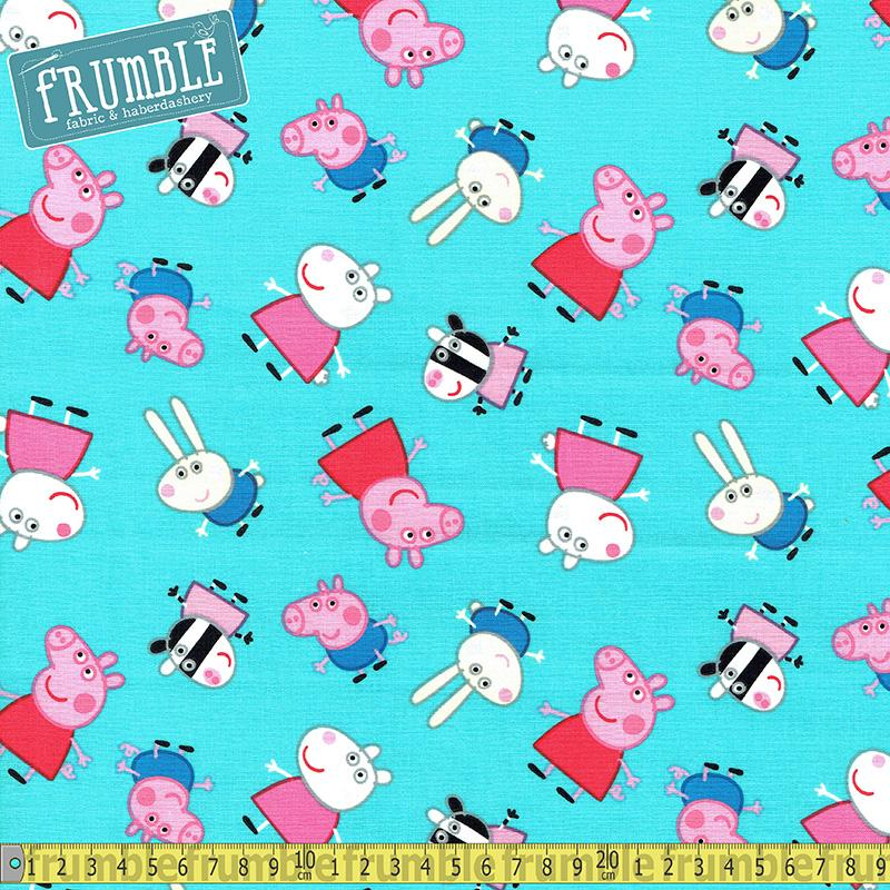 Peppa Pig And Friends Teal Fabric by Springs Creative
