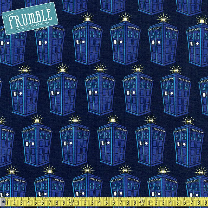 Doctor Who Police Public Call Box Blue Fabric by Springs Creative