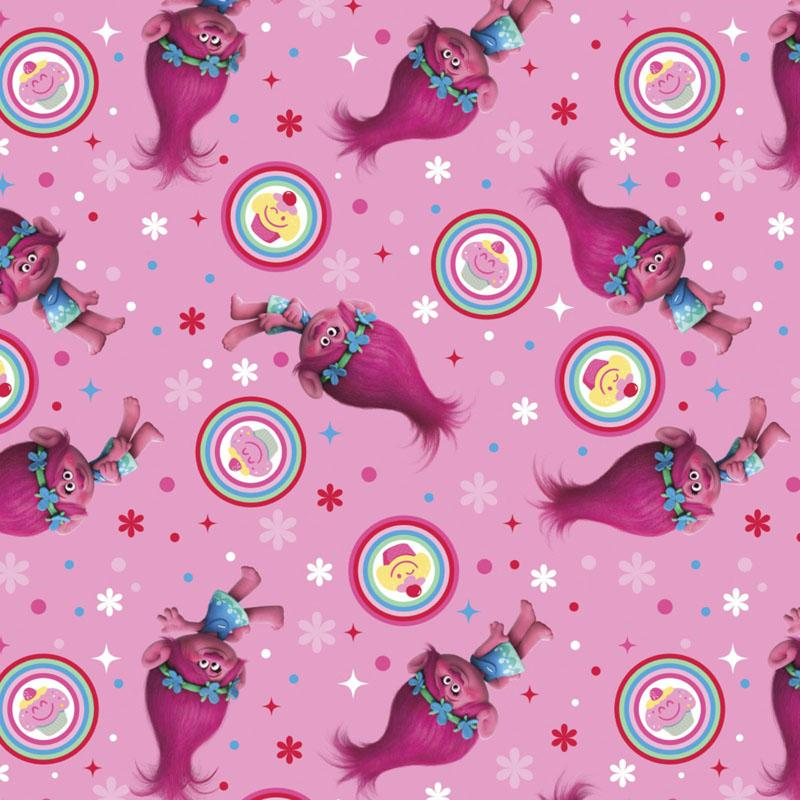 Trolls Poppy Cupcake Toss Pink Fabric by Springs Creative