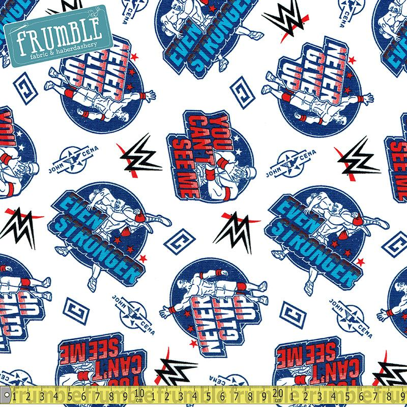 WWE John Cena You Can't See Me White Fabric by Springs Creative