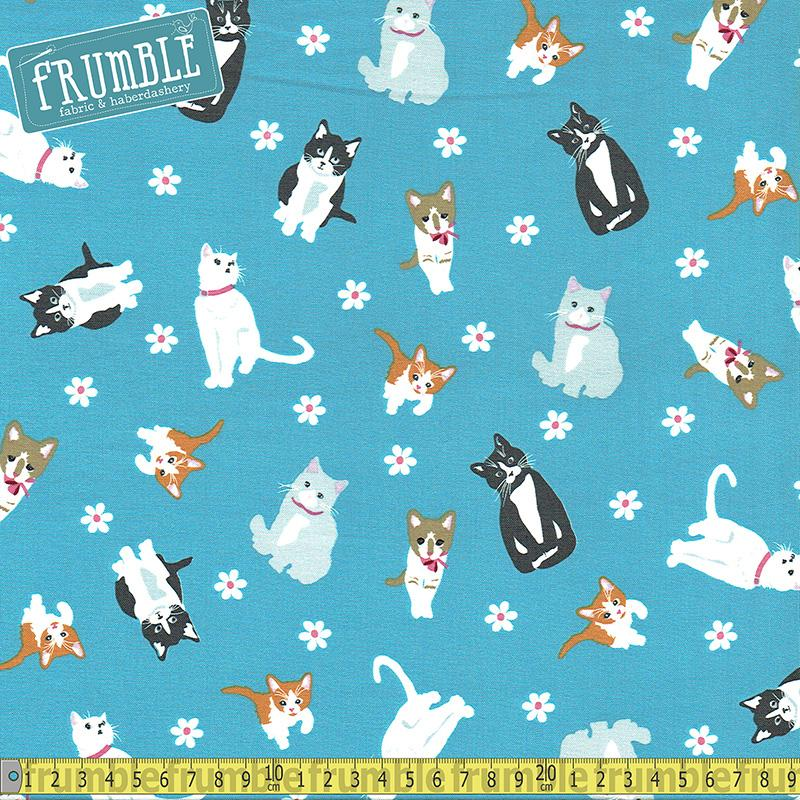Cattitude Tossed Cats Blue Fabric by Studio E
