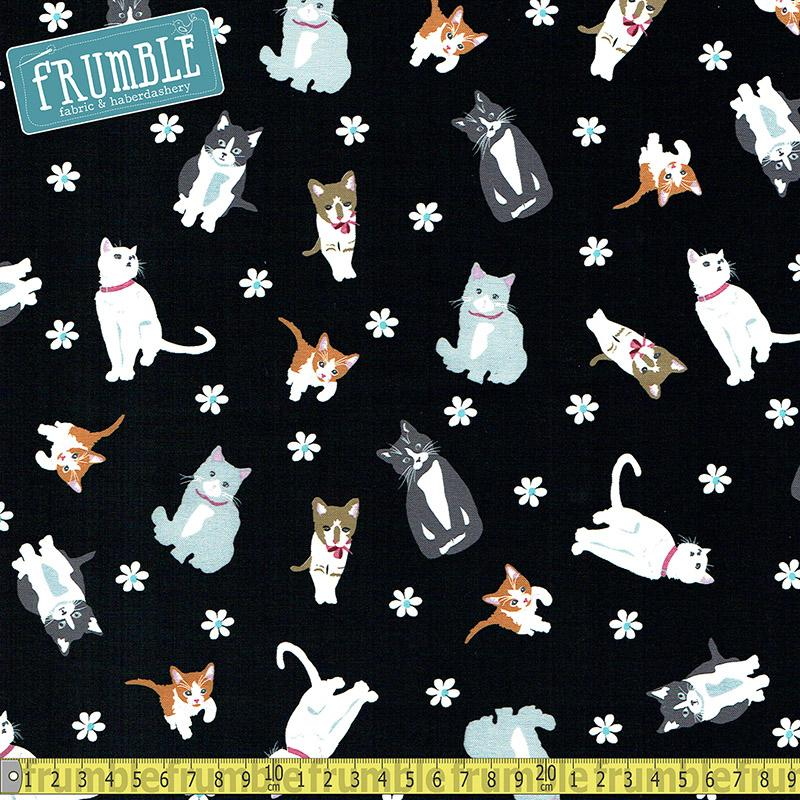 Cattitude Tossed Cats Black Fabric by Studio E
