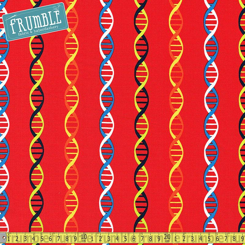 Geek Chic DNA Spiral Red Fabric by Studio E