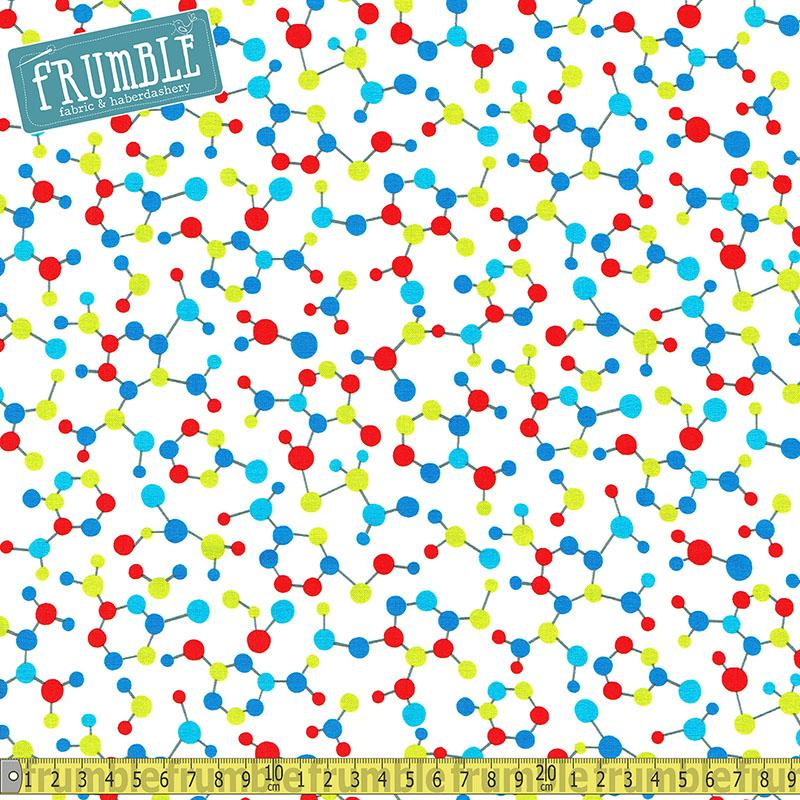 Geek Chic Molecules White Fabric by Studio E