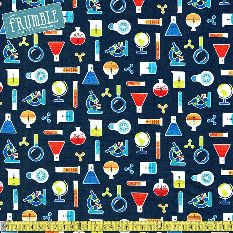 Geek Chic Small All Over Navy - Frumble Fabrics
