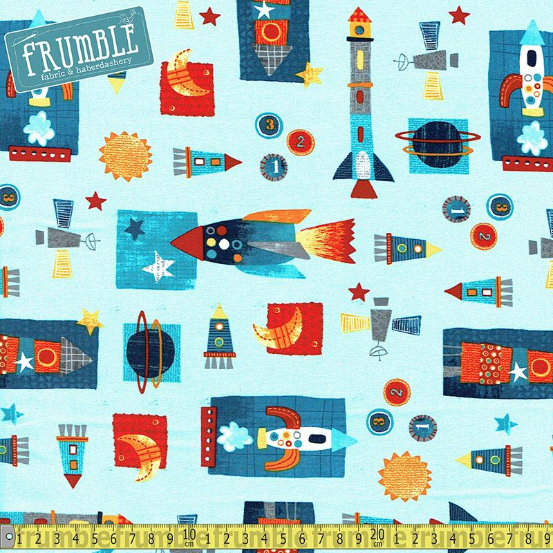 Space Adventure Shuttles Light Blue Fabric by Studio E