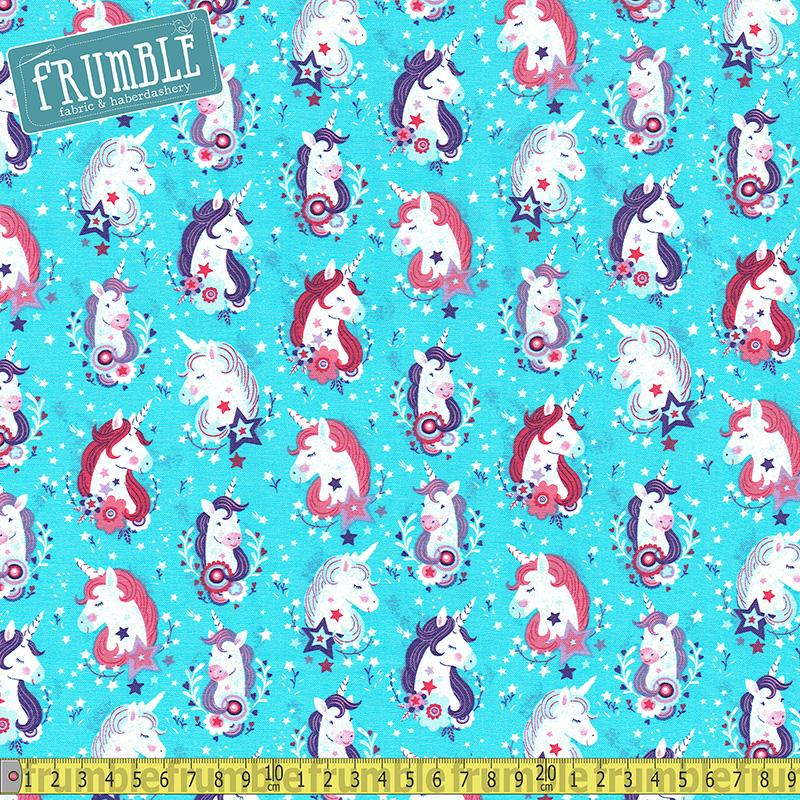 Unicorn Kisses Heads Aqua - Frumble Fabrics