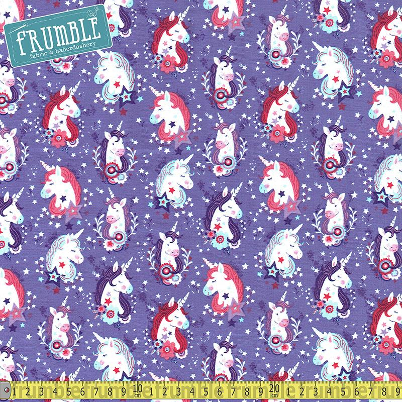 Unicorn Kisses Heads Purple Fabric by Studio E