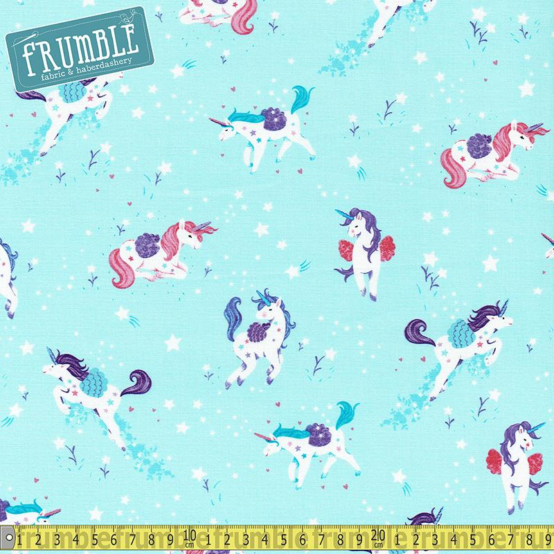Unicorn Kisses Tossed Allover Light Blue - Frumble Fabrics