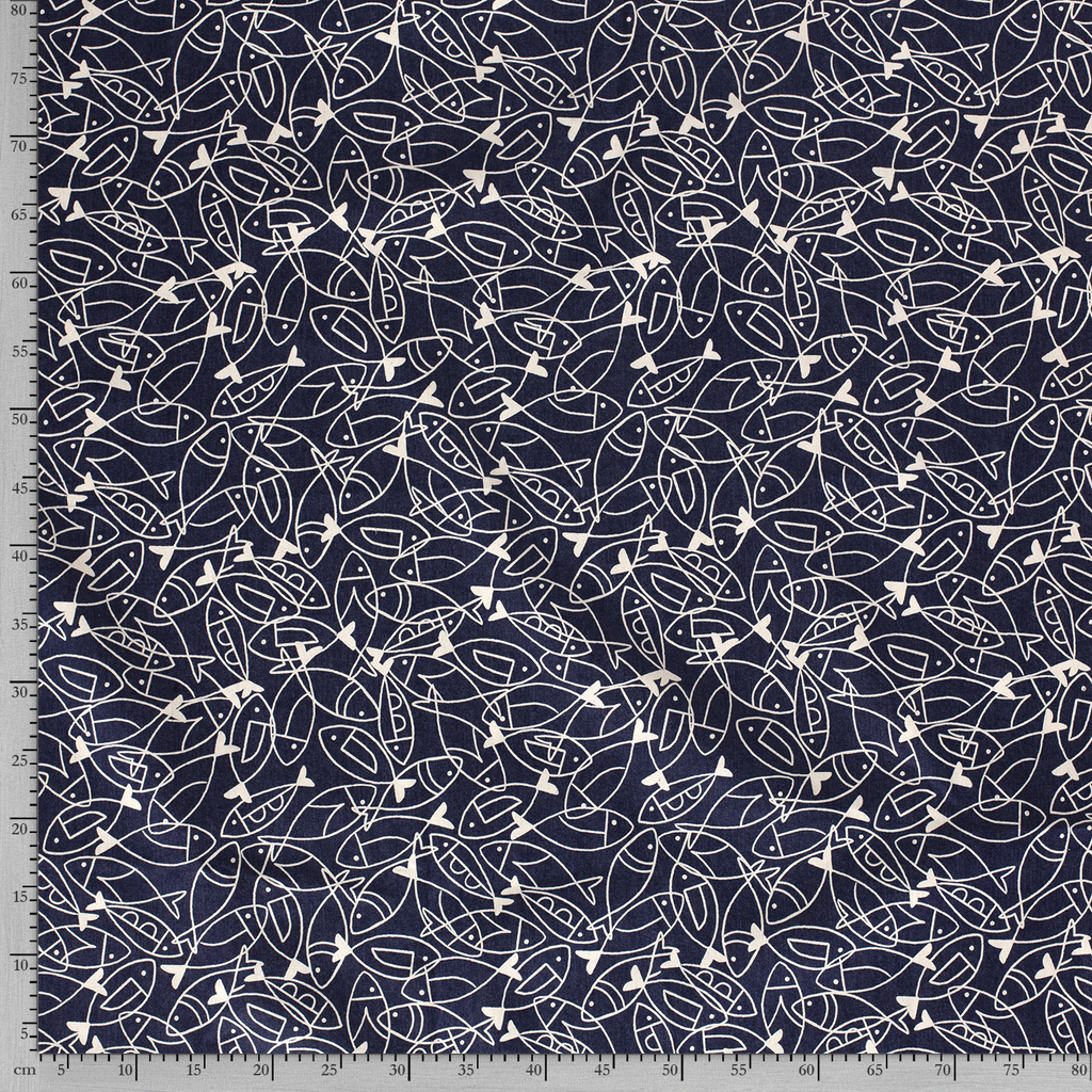 Scattered Sardines Stretch 7oz Cotton Denim Dark Blue - Frumble Fabrics