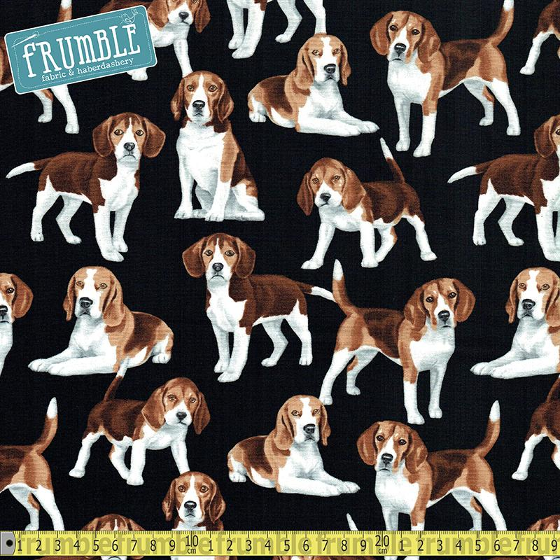 Beagles Black Fabric by Timeless Treasures