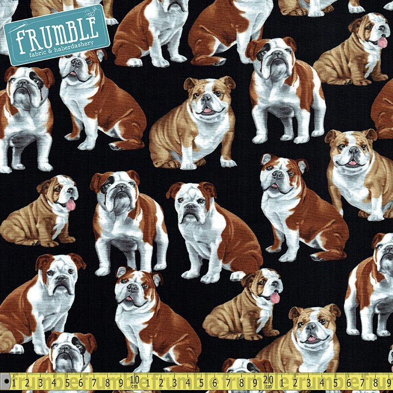 Bulldogs Black Fabric by Timeless Treasures