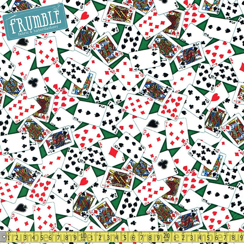 Casino Poker Cards Green Fabric by Timeless Treasures