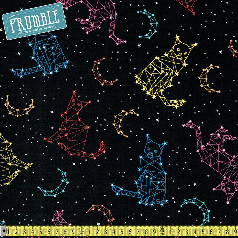 Cat Constellations Black Fabric by Timeless Treasures