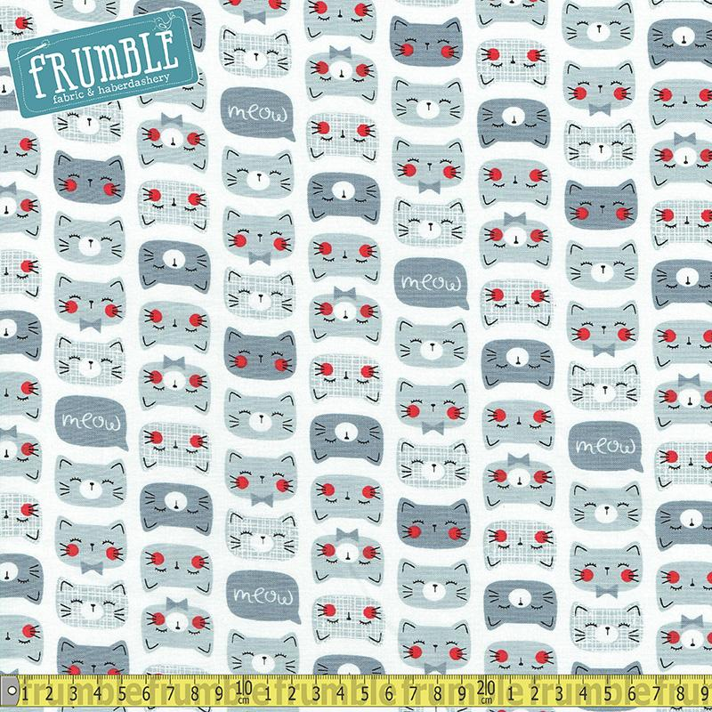 Cat Faces Grey Fabric by Timeless Treasures