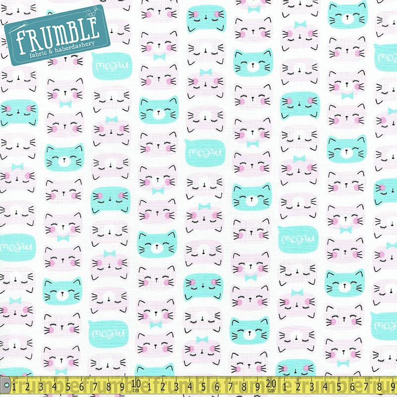 Cat Faces Pink Fabric by Timeless Treasures