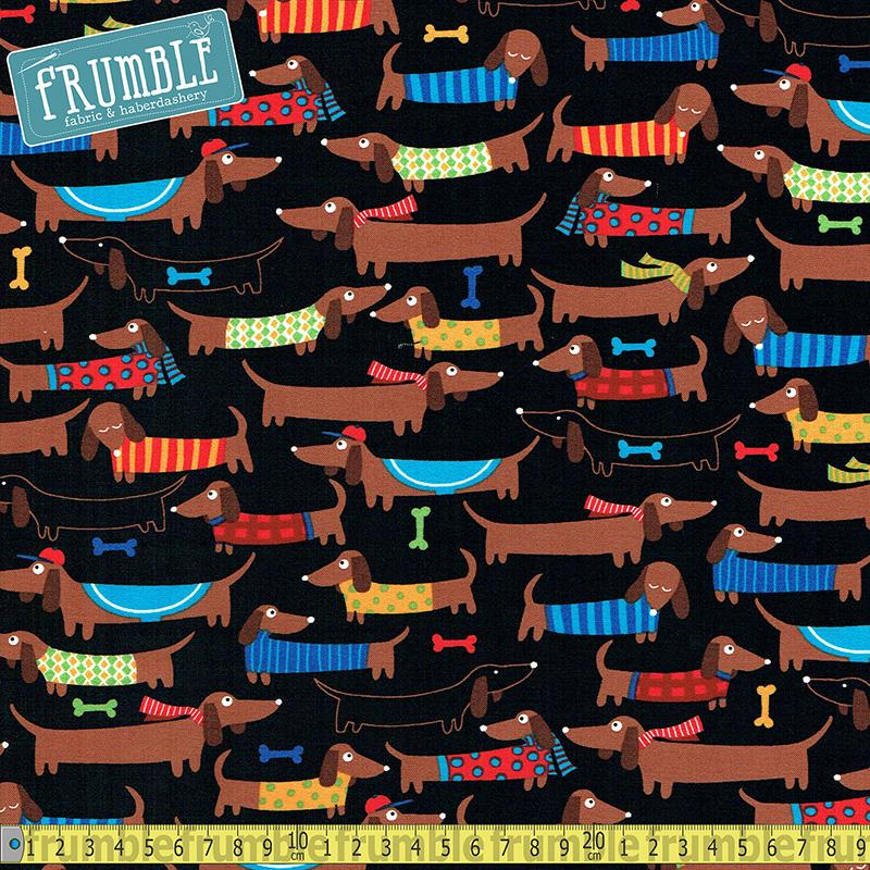 Cute Dachshunds Black Fabric by Timeless Treasures