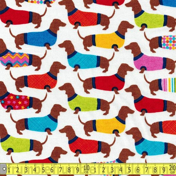 Dachshunds in Sweaters White Fabric by Timeless Treasures