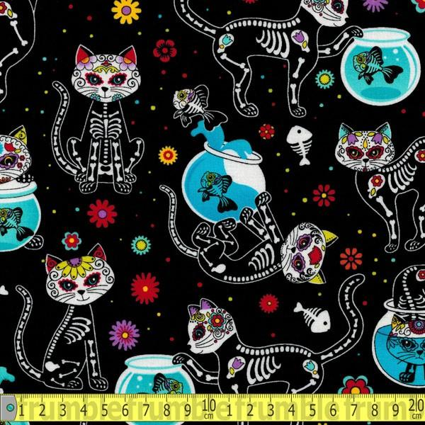 Day Of The Dead Kitty Black Fabric by Timeless Treasures