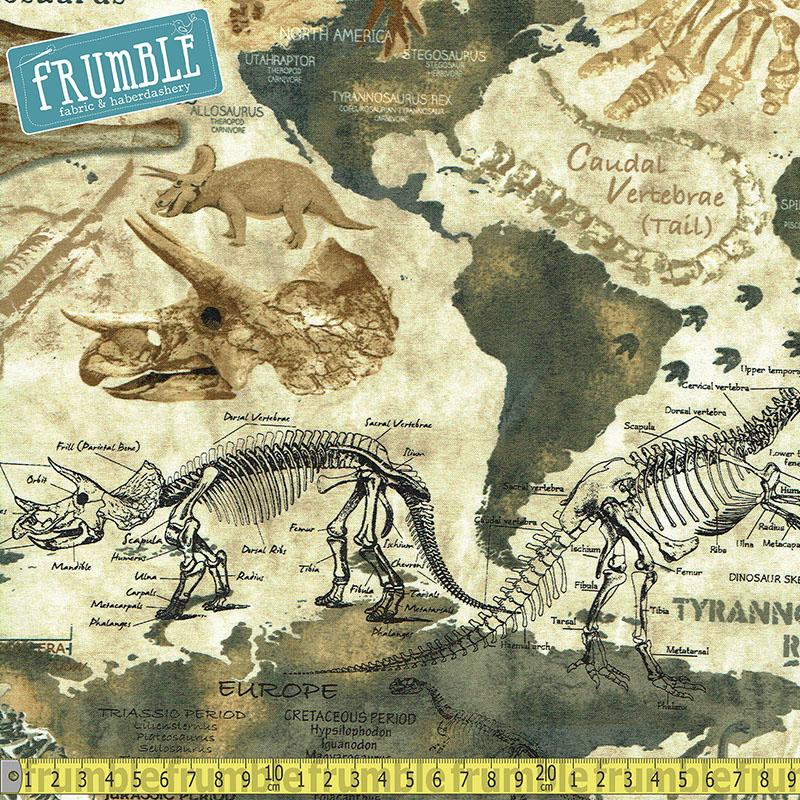 Dinosaur Map Tan Fabric by Timeless Treasures