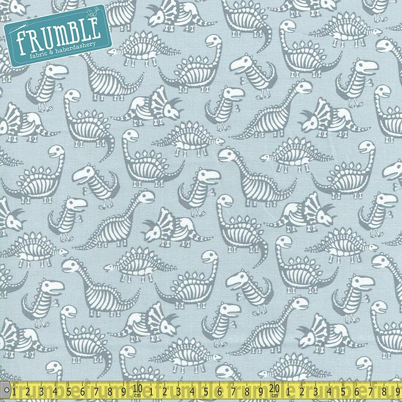 Dinosaur Skeletons Grey - Frumble Fabrics