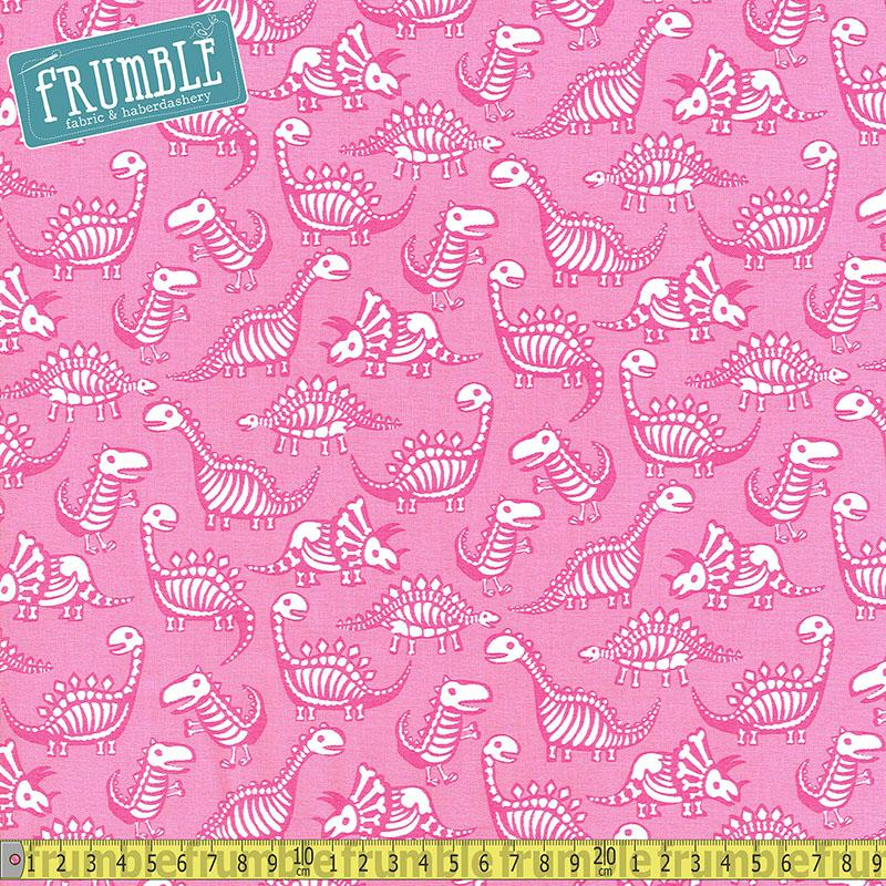 Dinosaur Skeletons Pink Fabric by Timeless Treasures