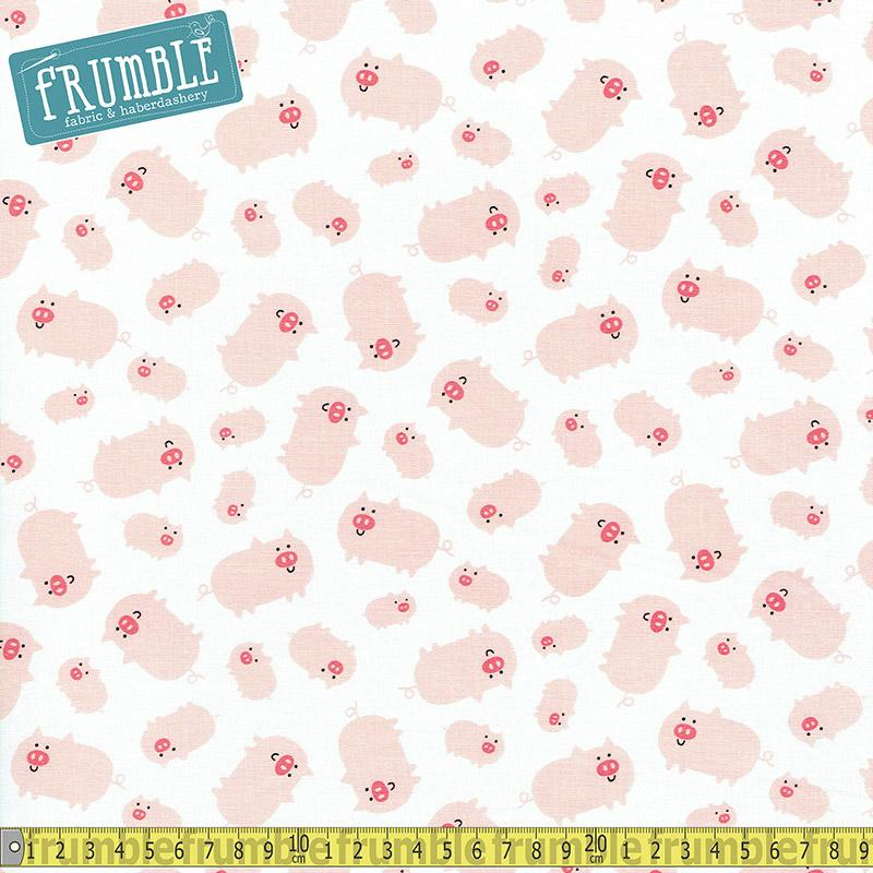 Farm Animals Pigs on White - Frumble Fabrics